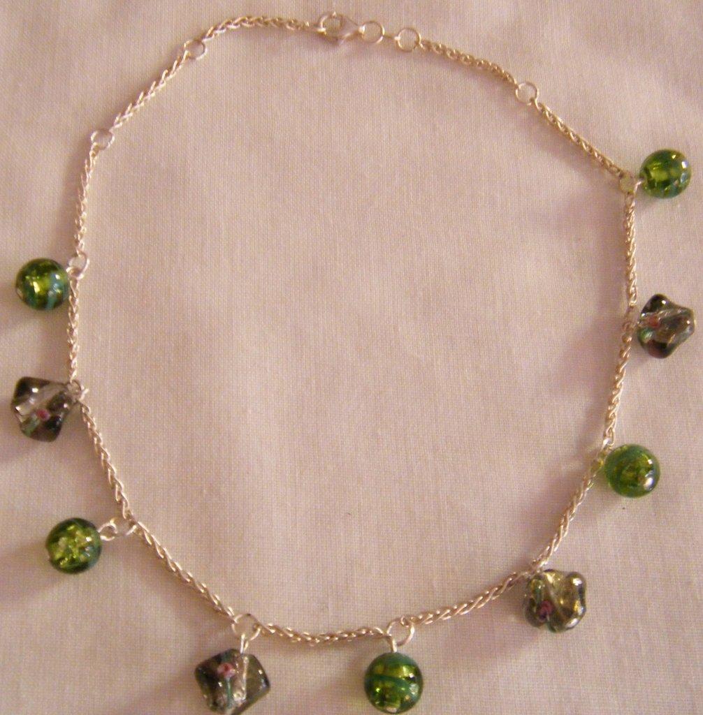 collana girocollo con catena in argento e vetro di murano