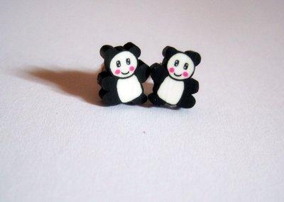 Orecchini a lobo fimo panda Kawaii