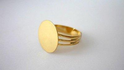 Base piatta anello Nickel free, dorato, regolabile.