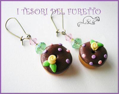 """Orecchini """"Donut al cioccolato"""" Lilla-verde Fimo cernit kawaii idea regalo natale 2012"""