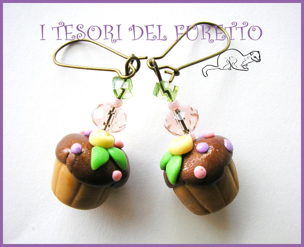 """Orecchini """"Cupcake Muffin"""" Lilla-verde Fimo cernit kawaii idea regalo natale 2012"""