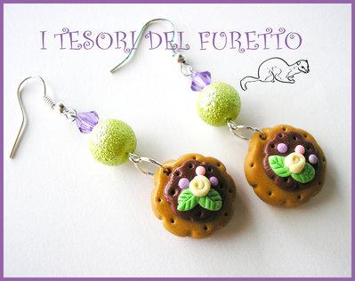"""Orecchini """"Biscotti tondi al cioccolato"""" Lilla-verde Fimo cernit kawaii idea regalo natale 2012"""