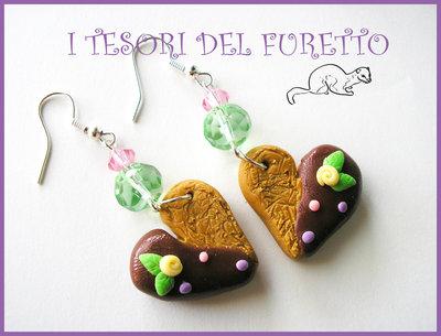 """Orecchini """"Biscotto Cuore"""" Lilla-verde Fimo cernit kawaii idea regalo natale 2012"""