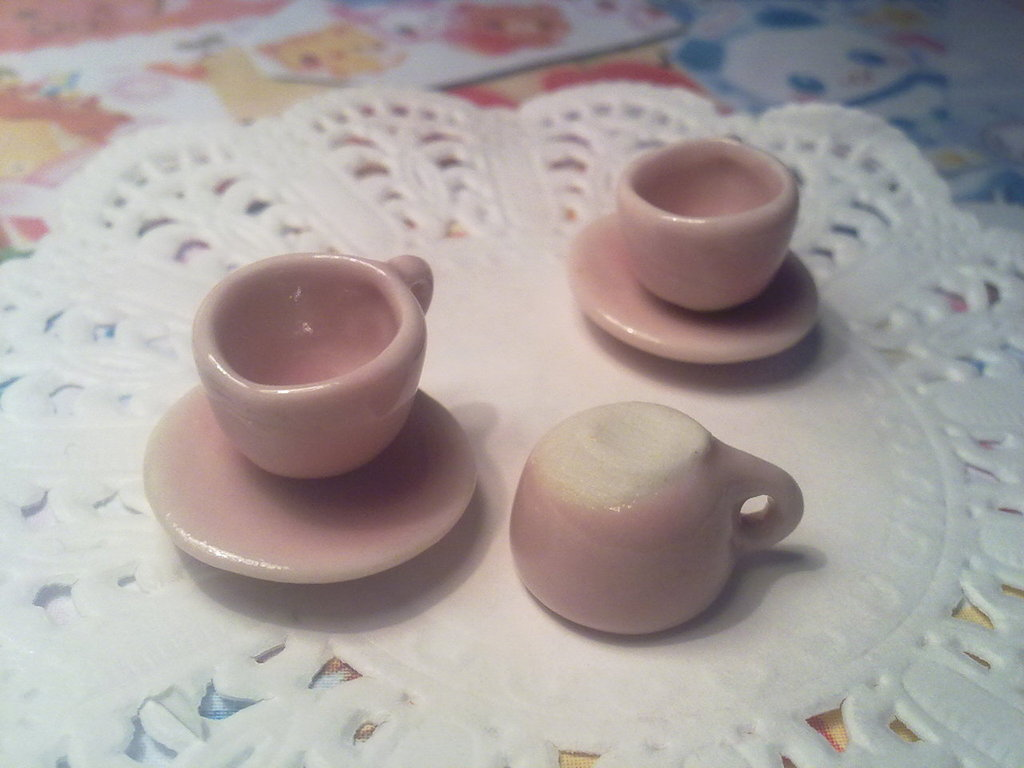 Tazzine da caffè in ceramica rosa
