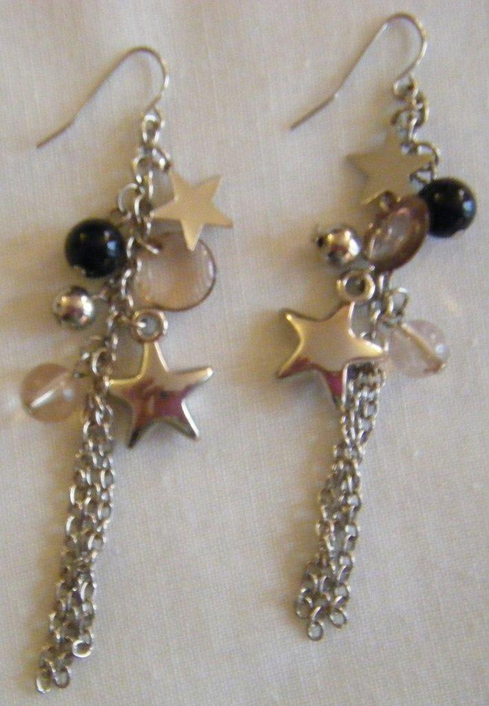 orecchini pendenti a grappolo con stelle di natale