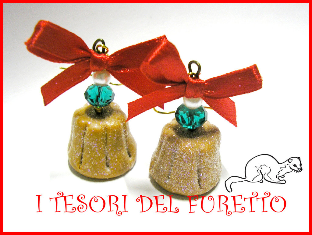 """Orecchini """"Natale Pandoro"""" fimo cernit kawaii idea regalo"""