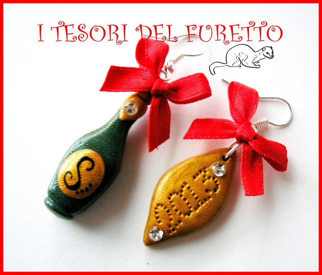 """Orecchini """"Natale Capodanno 2013 Bottiglia spumante"""" FImo cernit kawaii idea regalo"""