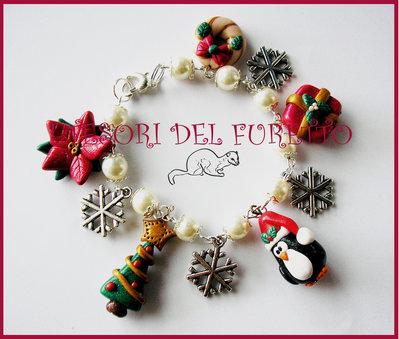 "Bracciale ""Natale Pinguino e charm natalizi"" fimo cernit kawaii idea regalo 2012"