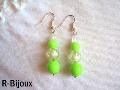 Orecchini perline - verde fluo