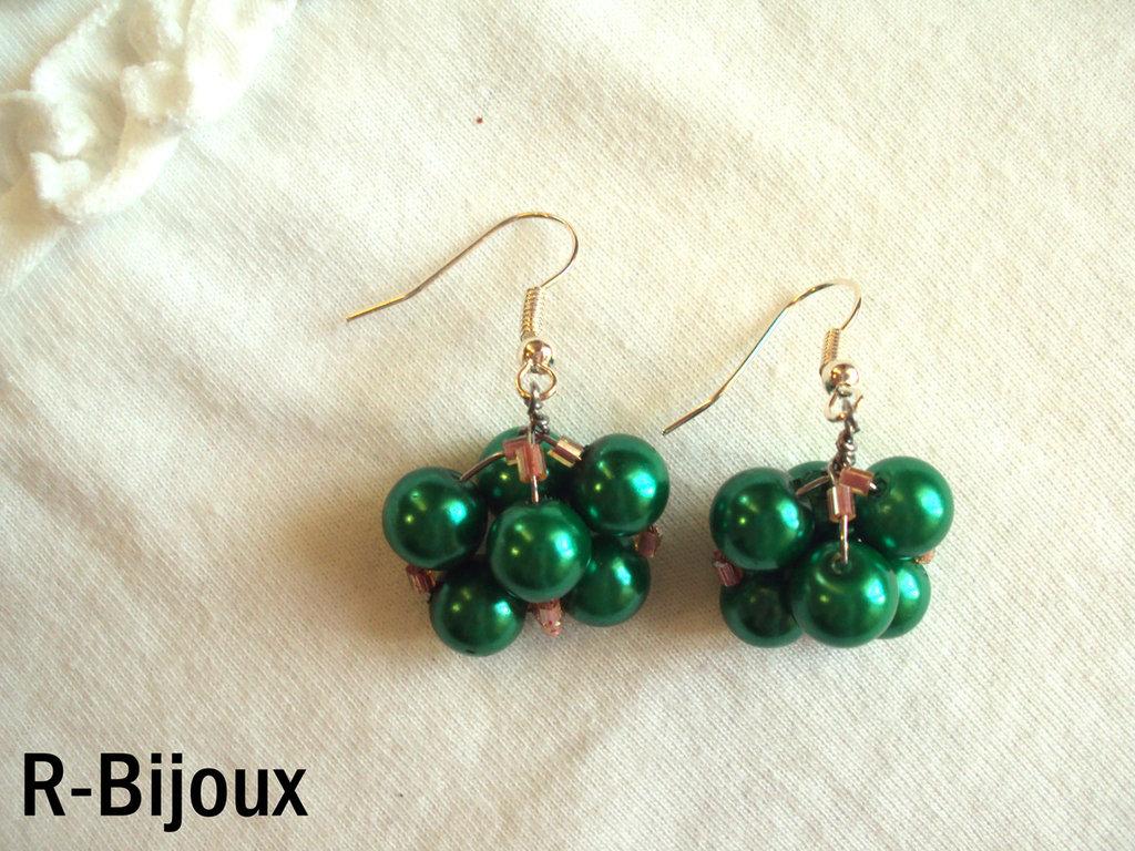Orecchini wire e perle - romantic verde