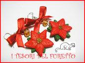 """Orecchini """"Stelle di Natale"""" Rosso acceso Natale 2014  fimo cernit kawaii idea regalo"""