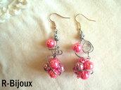 Orecchini wire con perle rosa
