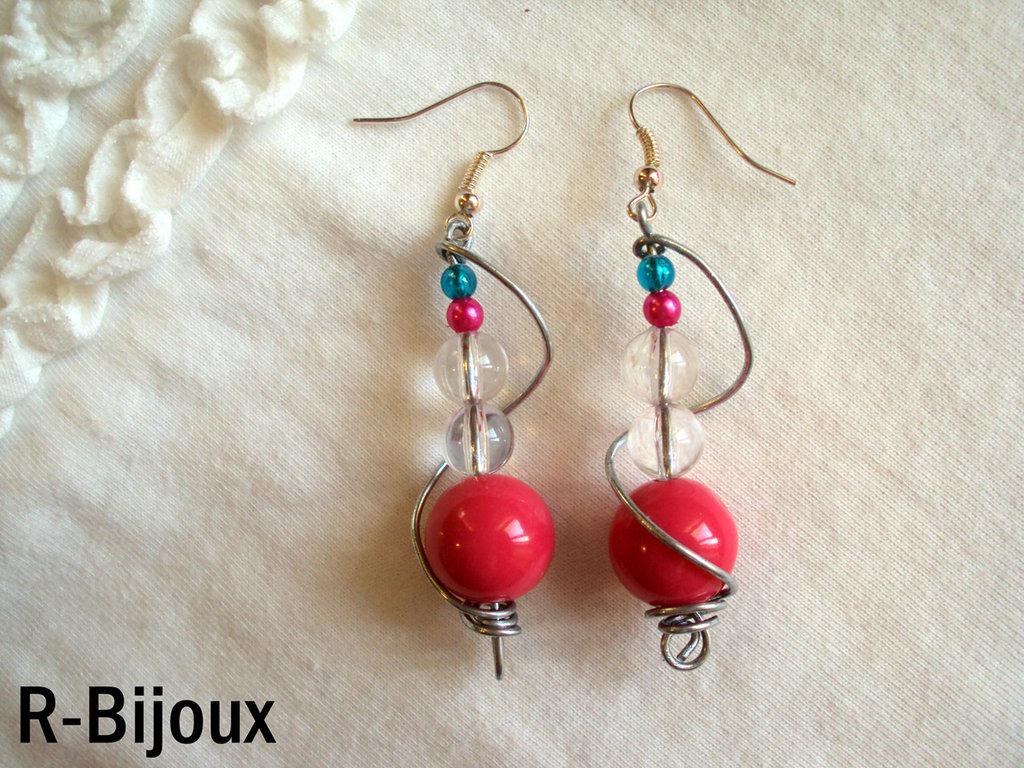 Orecchini wire e perle - magenta