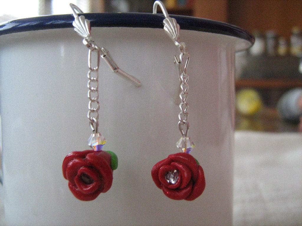 orecchini rose e strass