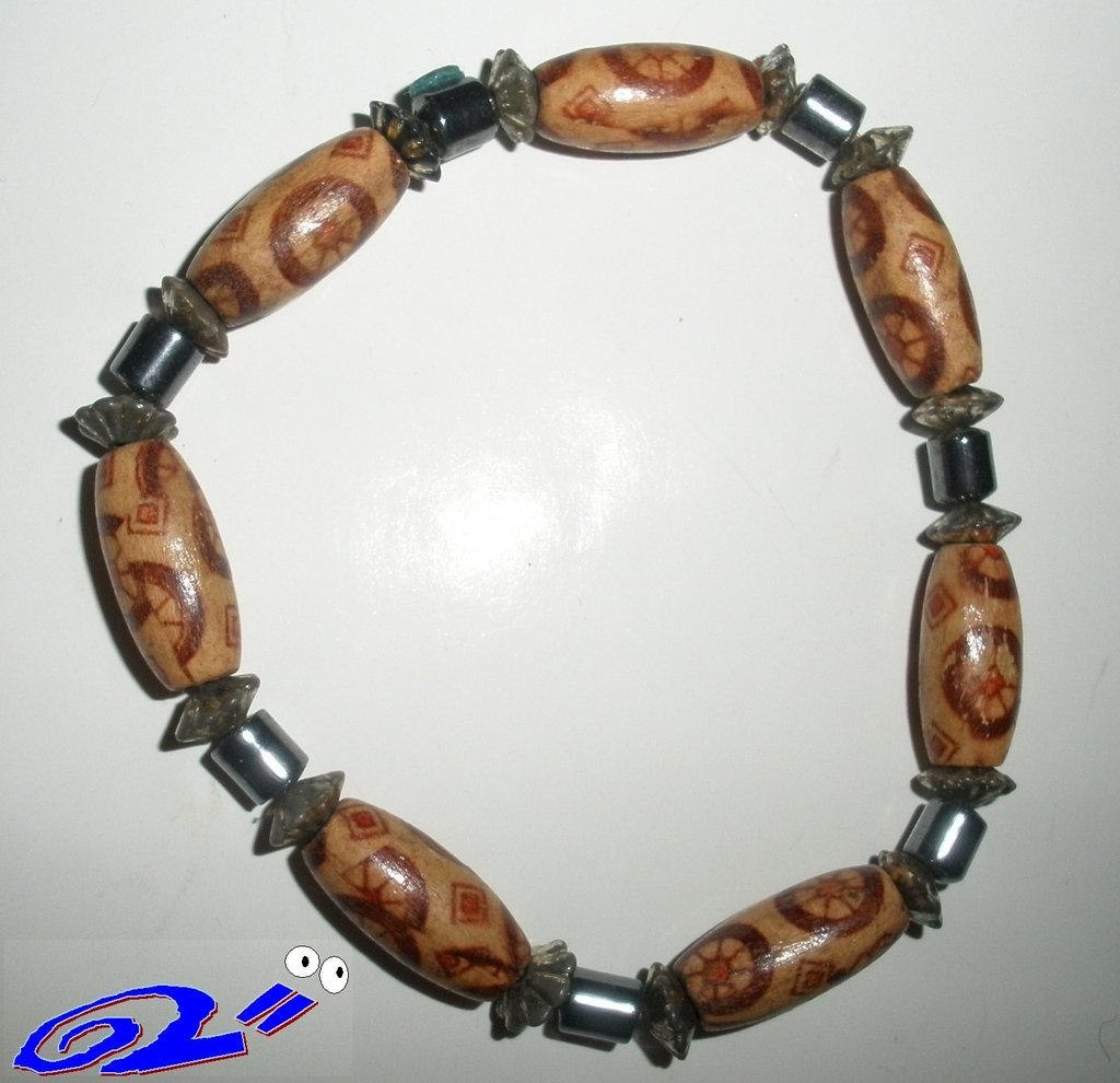 """braccialetto in perline di legno e metallo """"Metalbo"""""""