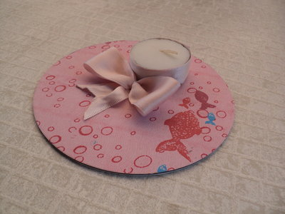 Centrotavola con candela (rosa)