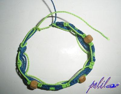 braccialetto brasiliano verde chiaro brillante e blu