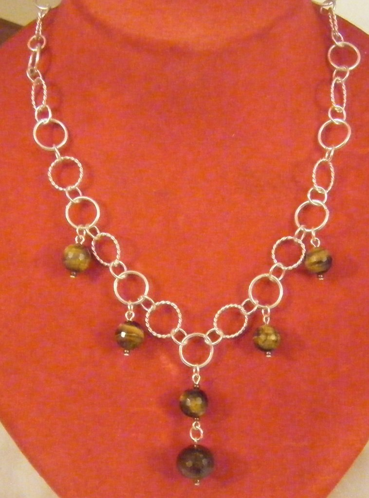 Estremamente collana con catena in argento e pietre dure - Gioielli - Collane  FB99