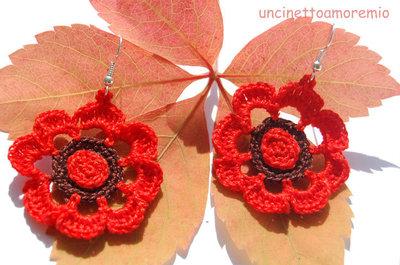 Orecchini crochet  - flower in autumn -