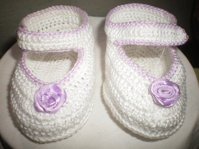 SCARPINE NEONATO IN COTONE FATTE ALL'UNCINETTO -CROCHET BABY SHOES