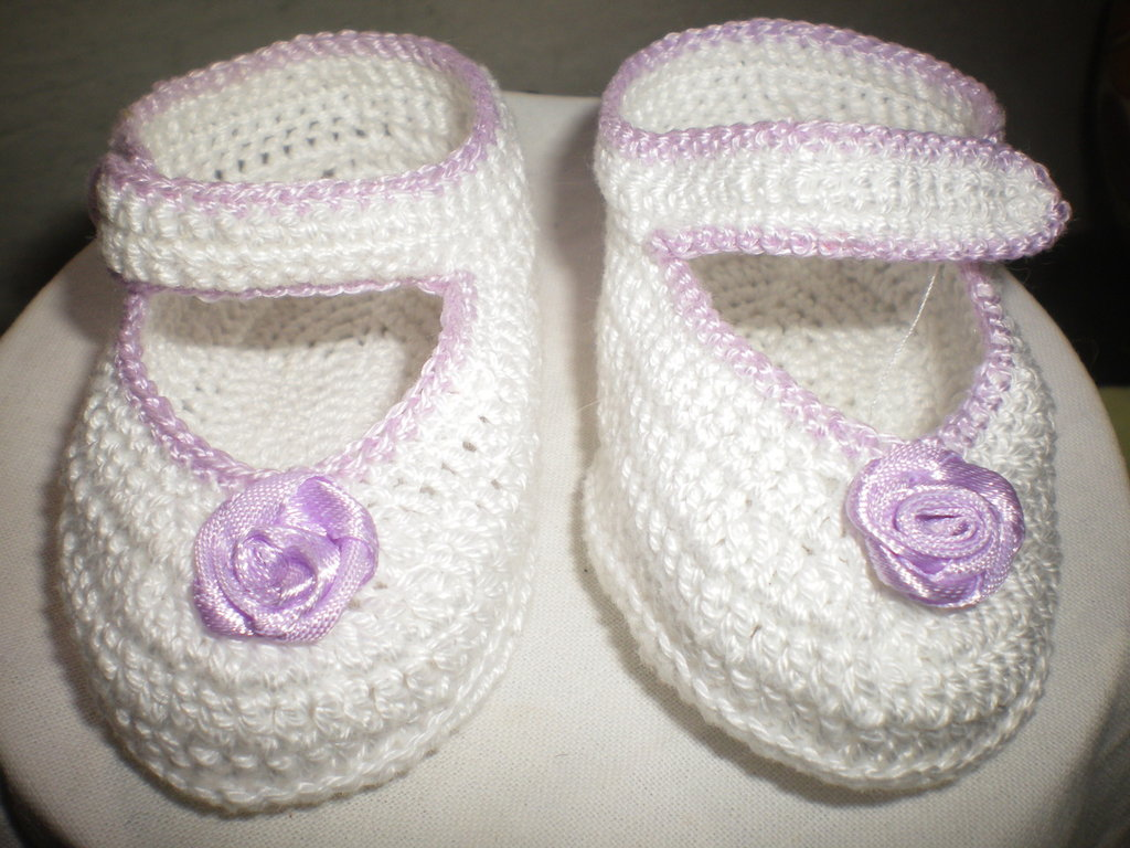 Favoloso SCARPINE NEONATO IN COTONE FATTE ALL'UNCINETTO -CROCHET BABY SHOE  WD58