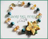 """Bracciale """"Natale 2012"""" Stella di Natale Oro  perle fimo cernit kawaii"""