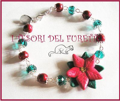 """Bracciale """"Natale 2012"""" Stella di Natale Rosso carminio  perle fimo cernit kawaii"""