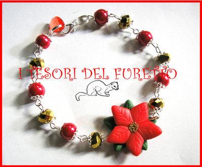 """Bracciale """"Natale 2012"""" Stella di Natale Rosso acceso  perle fimo cernit kawaii"""