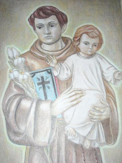 disegno pastelli- Sant'Antonio