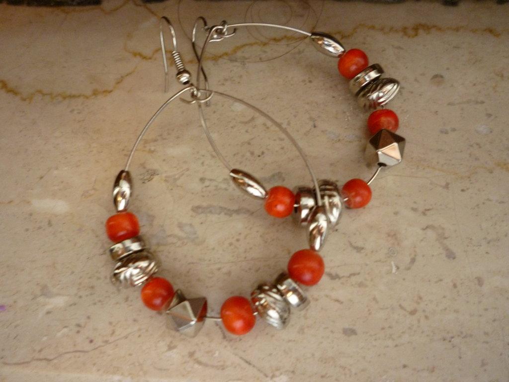 orecchini perline argento e rosso