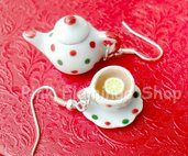 Teiera e tazza di té a pois - orecchini