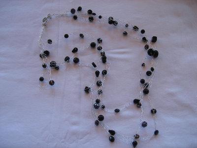 Collana argento e cristalli nera