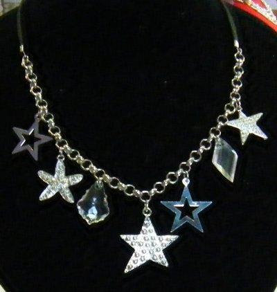 collana con cordini,catena e charms,,stelle di natale,,