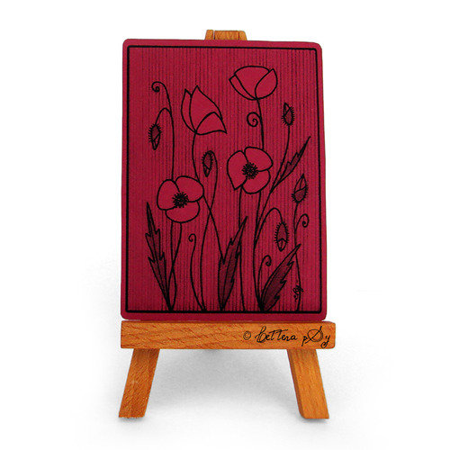"""ACEO """"Impronte 008, Papaveri rosso lampone"""" - cartolina stampata da collezione"""
