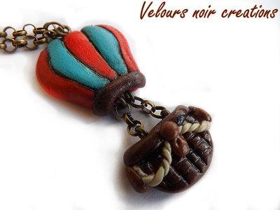 collana in bronzo con mongolfiera in fimo steampunk