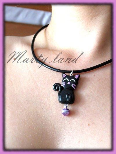 collana gatto nero realizzato a mano con il fimo