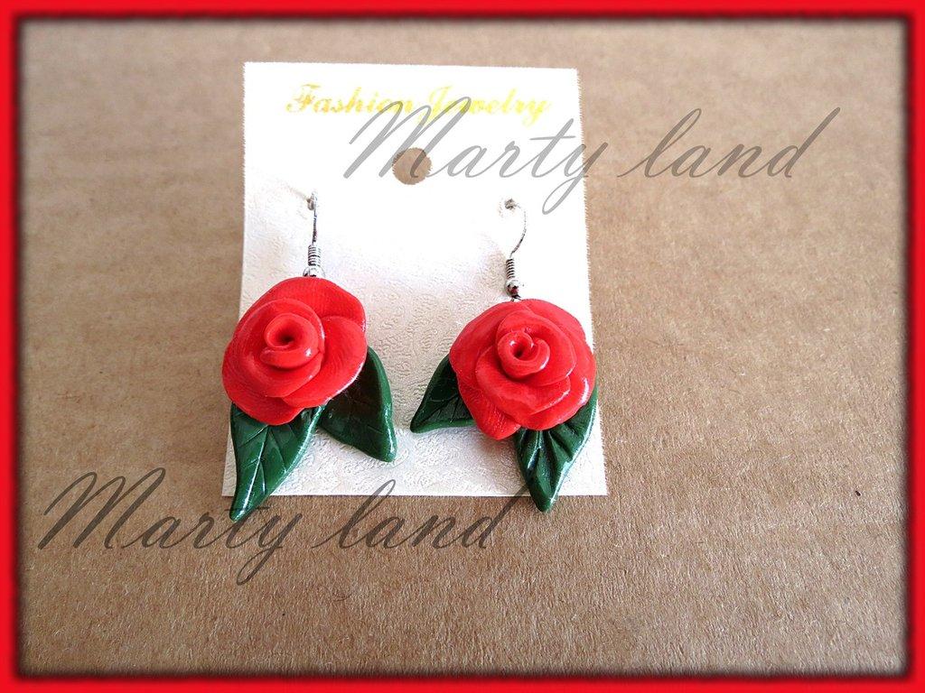 orecchini rose rosse in fimo