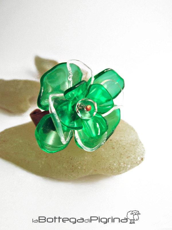 Anello PET Flower - Verde
