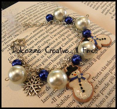 ☃ Natale In Dolcezze 2014 ☃ Bracciale fiocchi di neve, perle e pupazzi di neve, idea regalo in fimo e cernit ^_^