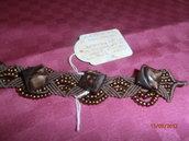 B4 Bracciale orignale marrone macramè con bottoni antichi----Original macramè bracelet with ancient bottons