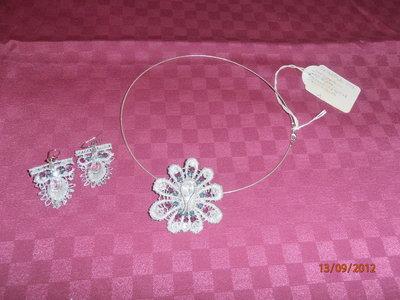 C9 collana e orecchini pizzo e argento