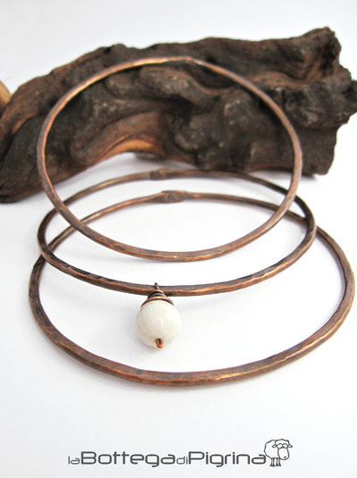 Bracciali Copper Bangle & Pearl
