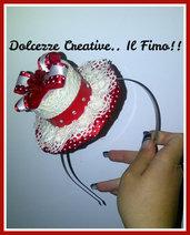☃ Natale In Dolcezze 2014 ☃ Mini cappello per natale - cerchietto- con nastri e pizzi, rosso e bianco
