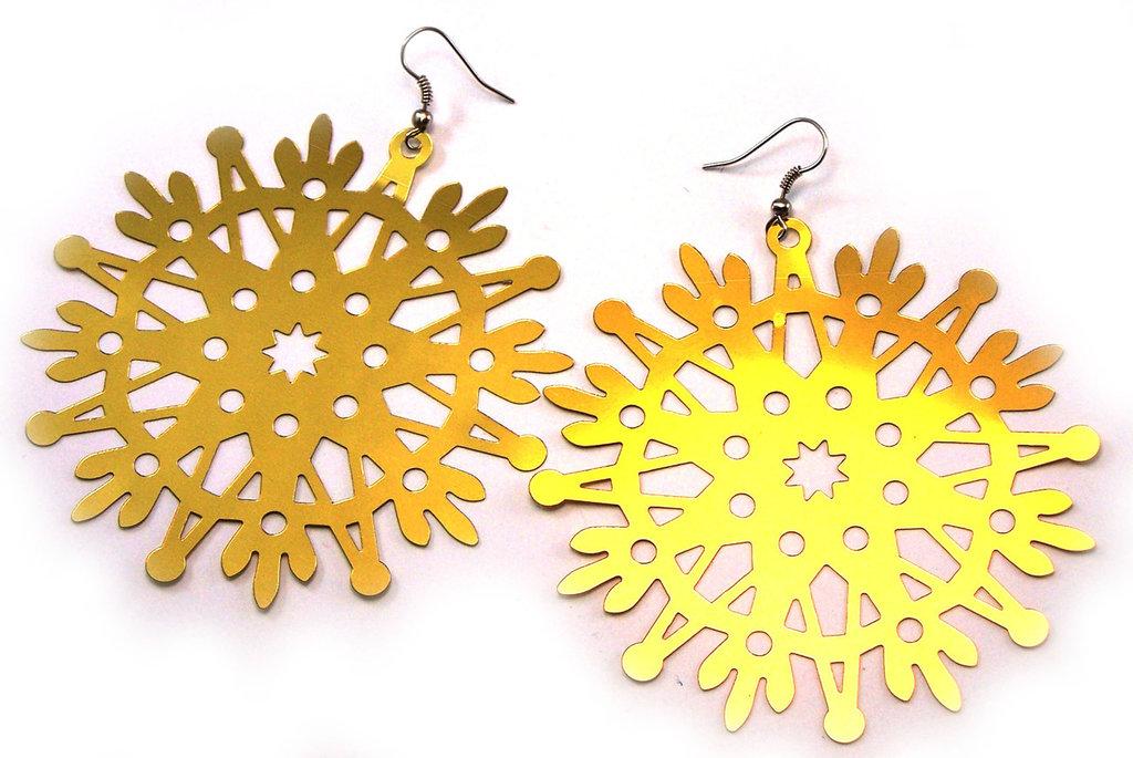 Orecchini luminosi fatti a mano in plastica acrilica color oro