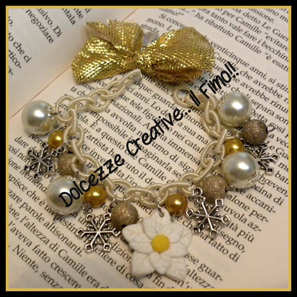 ★★SALDI ☃ Natale In Dolcezze 2014 ☃ Bracciale con fiocchi di neve e stella di neve, idea regalo oro , bianco
