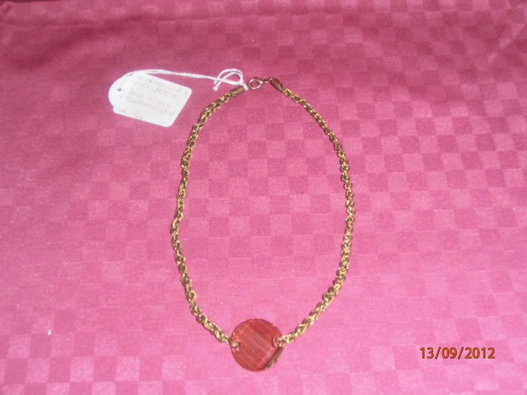 C13 Collana ad uncinetto con filo d'oro e Swarovsky----Crochet necklace with gold thread and Swarovsky