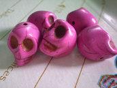 5 Perline Teschi Pietra Sintetica FUCSIA