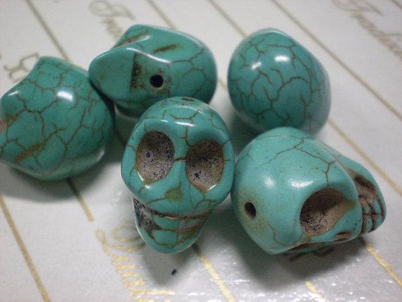 5 Perline Teschi Pietra Sintetica CELESTE
