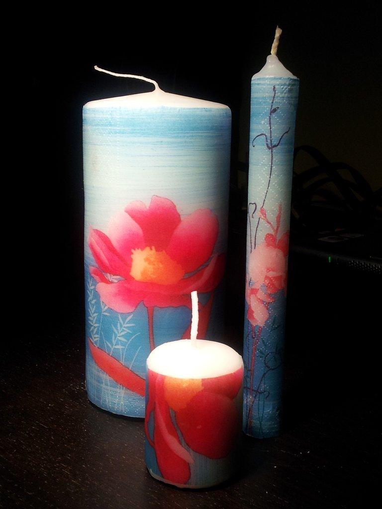 Tris candele decoupage
