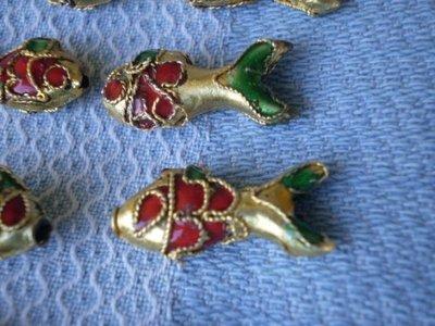12 Perline Pesce Cloisonne